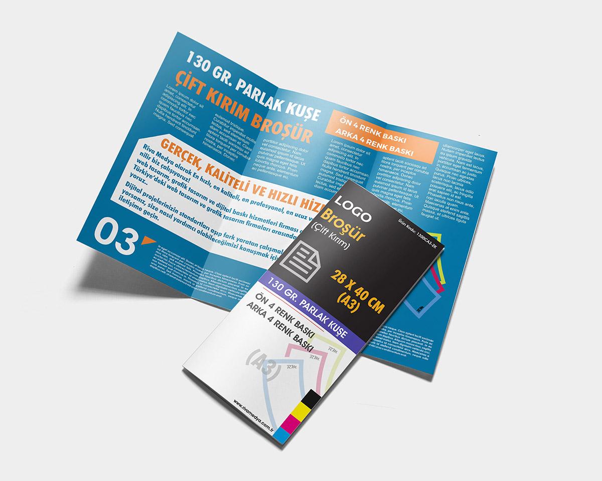 Çift Kırım Broşür – 28×40 CM (A3) – (Tasarım + Baskı)