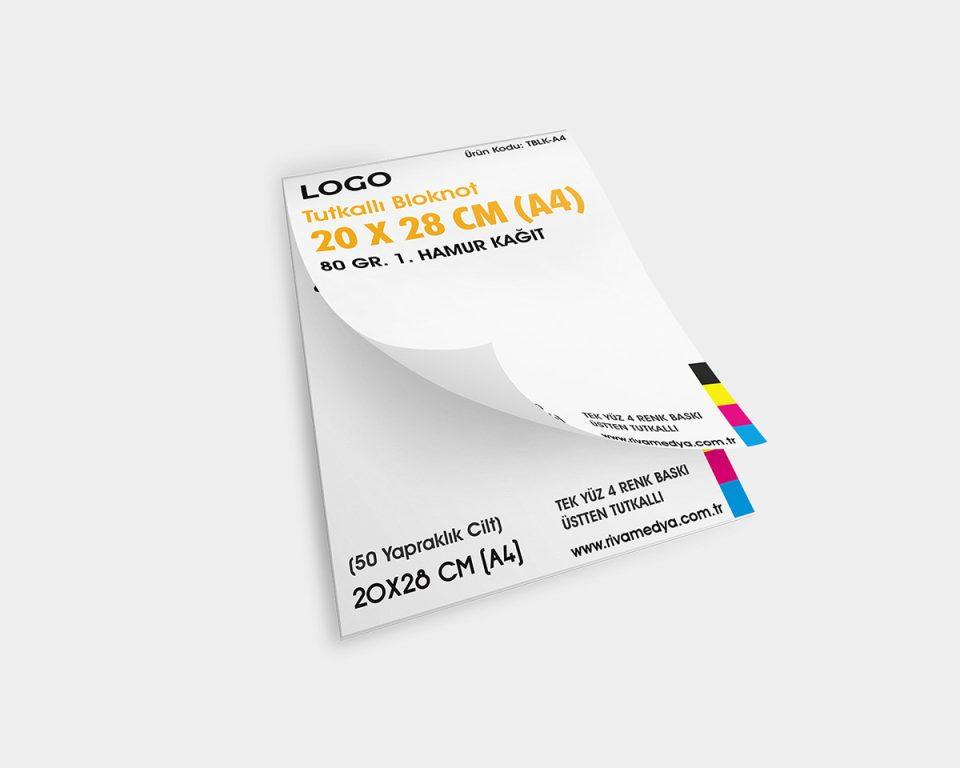 Tutkallı Bloknot – 20 X 28 CM (A4) - (Tasarım + Baskı)