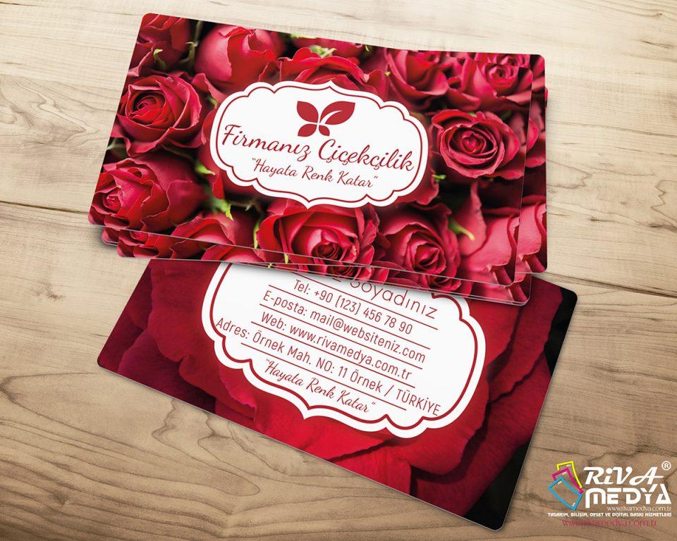 Çiçekçi Kartvizit - Kırmızı Güller - Hazır Kartvizit Tasarımı
