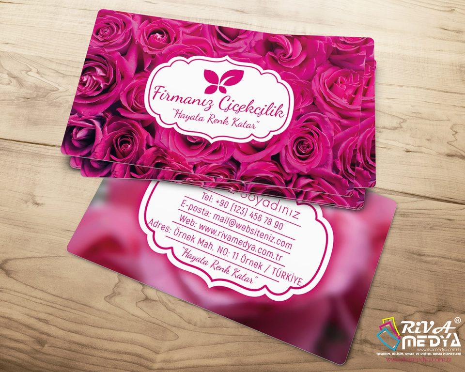 Çiçekçi Kartvizit - Pembe Güller - Hazır Kartvizit Tasarımı