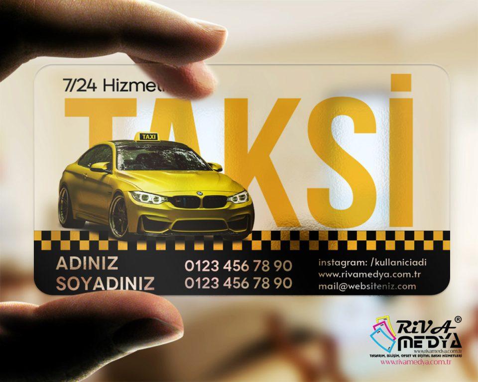 Ekonomik Taksi Şeffaf Kartvizit - Hazır Kartvizit Tasarımı